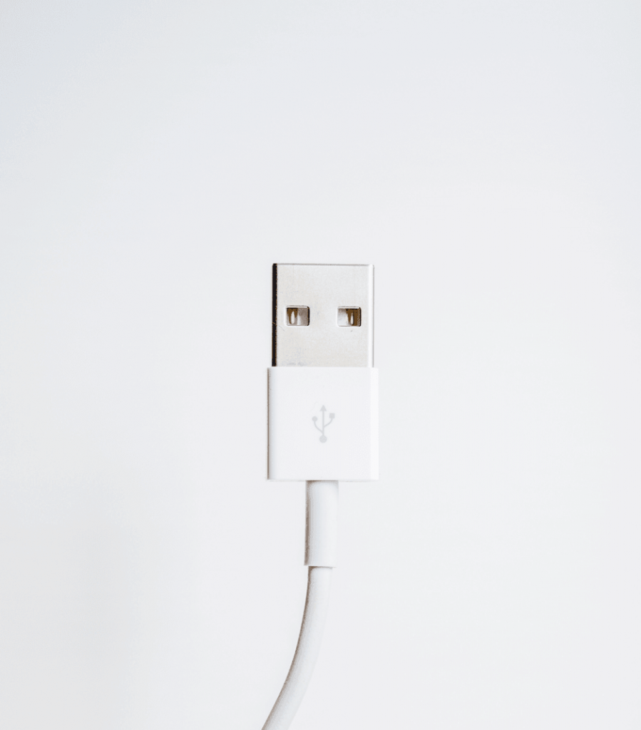 An unplugged iPhone charger